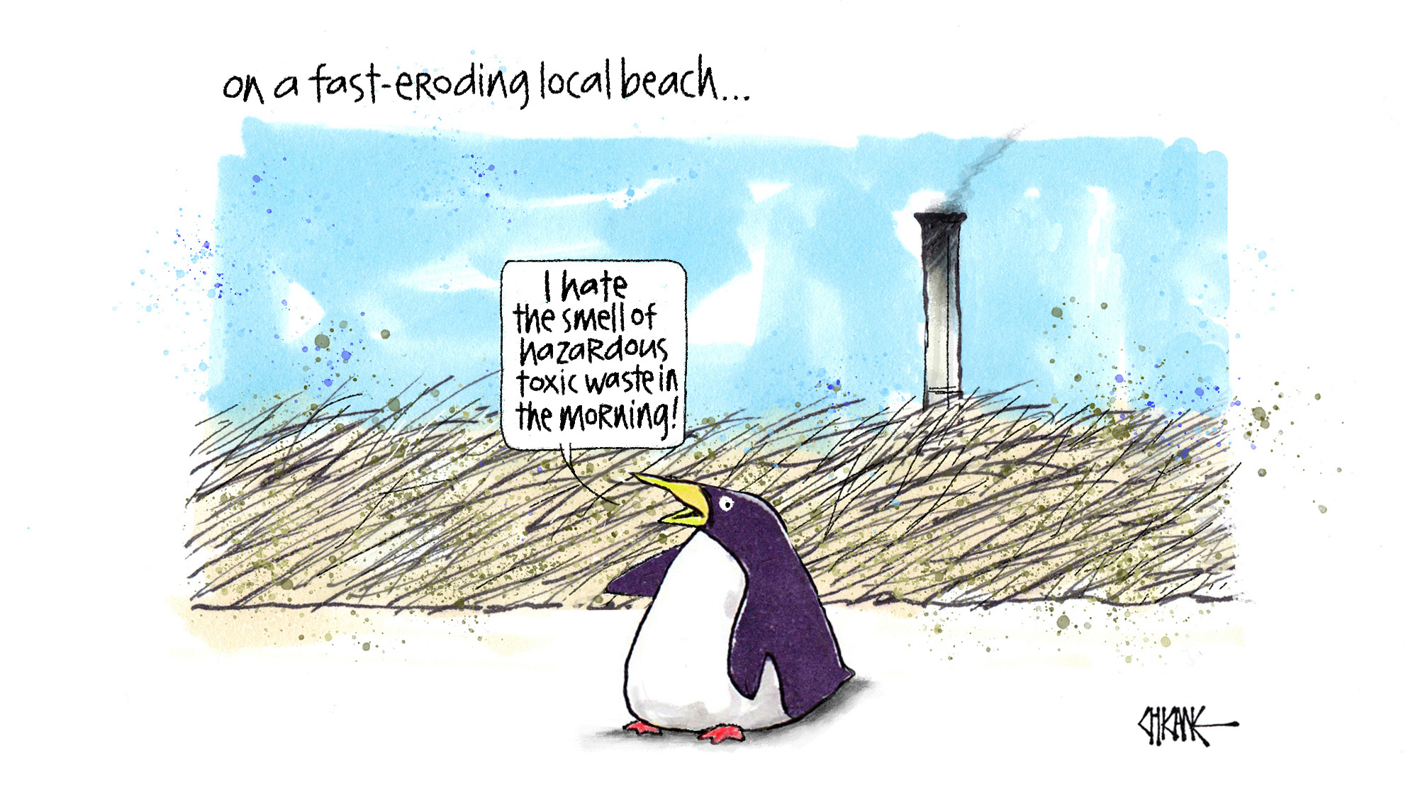 Tiwai Smelter Toxic Waste Chicane Cartoon