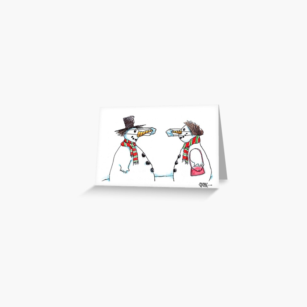 Snowmen with masks cartoon Christmas card by Chicane